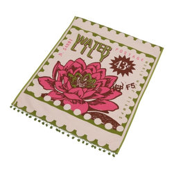 Rhadi Living - Postage Tea Towel, Water Lily - Brightly patterned and cheerfully tasseled, this postage stamp–inspired tea towel adds a pop of color to any kitchen. Whether drying dishes, handling hot plates or keeping your cutting board in place, it makes everyday chores look downright chic.