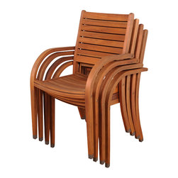 International Home Miami - Amazonia Arizona 4-Piece Stacking Armchair - Great quality, stylish design patio sets, made of 100% FSC eucalyptus wood, aluminum and synthetic wicker. Enjoy your patio with elegance all year round with the wonderful Atlantic outdoor collection.
