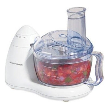 Hamilton Beach - HB 8 Cup Food Processor - This Hamilton Beach Food Processor has a 300 Watt motor and space-saving design.  It has a convenient On/Pulse dial and Stainless Steel chopping blade and slicing/shredding disc.  It provides in-bowl storage and bowl  lid and blades are dishwasher safe.   .