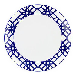 Navy Truman Dinner Plate - Inspired by Truman Capote's legendary joie de vivre with the toast of the town, this bold dinner plate helps set the stage--and the table--for a sophisticated statement.