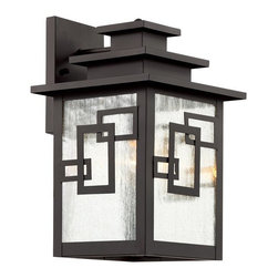 Transglobe - GEO Tempo 1-lt Outdoor Wall Lantern - Weather resistant cast aluminum. Clear seeded glass with cross over rectangles. Open at bottom for easy bulb access. 3 tiered roof. Asian inspired.