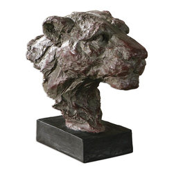 Uttermost - Uttermost Paka Sculpture 19791 - Hand sculpted look in reddish mahogany with a heavy gray glaze and matte black base.