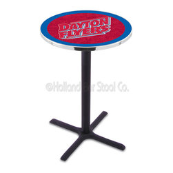 Holland Bar Stool - Holland Bar Stool L211 - Black Wrinkle University Of Dayton Pub Table - L211 - Black Wrinkle University Of Dayton Pub Table belongs to College Collection by Holland Bar Stool Made for the ultimate sports fan, impress your buddies with this knockout from Holland Bar Stool. This L211 University of Dayton table with cross base provides a commercial quality piece to for your Man Cave. You can't find a higher quality logo table on the market. The plating grade steel used to build the frame ensures it will withstand the abuse of the rowdiest of friends for years to come. The structure is powder-coated black wrinkle to ensure a rich, sleek, long lasting finish. If you're finishing your bar or game room, do it right with a table from Holland Bar Stool. Pub Table (1)