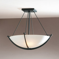 Hubbardton Forge - Compass 18 Inch Semi Flush - Compass 18 Inch Pendant is available in opal or sand glass color options with the choice of dark, bronze, burnished steel, natural iron, dark smoke, or mahogany finishes. Three 75-watt, 120 volt A19 medium base incandescent bulbs are required, but not included. Dimensions: 18.1W x 16H.