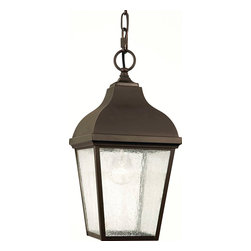 """Murray Feiss - Murray Feiss Terrace Transitional Outdoor Hanging Lantern X-BRO1104LO - This outdoor hanging lantern is a nod to 19th-century London. The clear seeded glass panels and """"S"""" curve square roof meshes nicely with an Oil Rubbed Bronze finish. Make your patio shine with this majestic piece."""