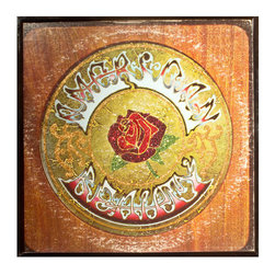 """Glittered Grateful Dead American Beauty Album - Glittered record album. Album is framed in a black 12x12"""" square frame with front and back cover and clips holding the record in place on the back. Album covers are original vintage covers."""
