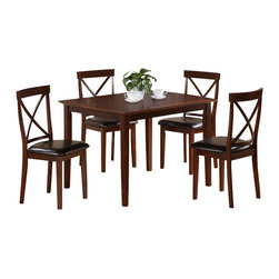 "Monarch Specialties - Monarch Specialties I 1546 Dark Cappuccino Birch Veneer 5 Piece Dining Room Set - Finished in a deep cappuccino birch veneer, this clean lined, five piece dining set will create the perfect look for intimate dinners or casual get togethers. The rectangular shaped dining table features curved edges, tapered legs and waterfall profile, while the armless side chairs have a curved ""X"" back design and a padded leatherette cushion for extra comfort. This set has a simple yet stylish look that can blend into any decor. Dining Table (1), Dining Chair (4)"