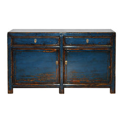 Two Drawer Blue Buffet - Chinese bold blue lacquer buffet with 2 doors and 2 drawers.