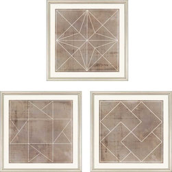 """Paragon Decor - Geometric I, Set of 3 Artwork - Liven up those boring walls with this dynamic set of 3, """"Geometric I."""" Each piece in this set features a geometric pattern of clean white lines atop an antiqued cement-colored background. Each piece has its own unique composition, but the set finds its cohesion in its shared style and color scheme. This set can be displayed alone, but looks best with its sister sets, """"Geometric II"""" and """"Geometric III,"""" which are also both sets of 3. Each piece is surrounded by an off-white matte and placed within a simple frame. Each piece in this set measures 18 inches wide, 1 inch deep, and 18 inches high."""