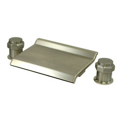 "Kingston Brass - Waterfall Roman Tub Filler - Two Handle Deck Mount, 2 Hole Sink Application, 12"" to 20"" Widespread, Fabricated from solid brass material for durability and reliability, Premium color finish resists tarnishing and corrosion, 1/4 turn On/Off water control mechanism, 3/4"" IPS inlets, Ceramic disc valve, 2.2 GPM (8.3 LPM) Max at 60 PSI, Integrated removable aerator, 3-3/8"" spout reach, Ten Year Limited Warranty to the original consumer to be free from defects in material and finish.; Drip-free ceramic cartridge; 3-hole installation; 12"" to 20"" spread; 3/4"" IPS; All mounting hardware included; Material: Brass; Finish: Satin Nickel; Collection: Milano"