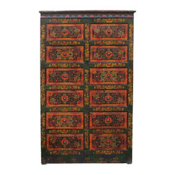 Golden Lotus - Vintage Tibetan Lotus Flower Graphic Dresser Drawer Cabinet - This is a twelve drawers cabinet with tradition Tibetan accent graphic on the surface.  It is a fun artistic accent piece for accessories storage and home decoration.