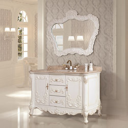 None - Natural Marble Top 51.2-inch Single Sink Bathroom Vanity with Matching Mirror - This elegant vanity is for a single sink and features a white finish and a micro crystal glaze golden root beige natural marble top. Three convenient soft closing drawers,two convenient soft closing doors and a beautiful mirror are included.