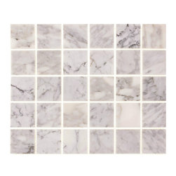 "Tile Circle - Carrara 2"" X 2"" Squares Polished Tile, 12x12 - Perfect for kitchen backsplashes or bathroom floor and wall tile installations."