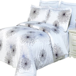 Bed Linens - Tiffany Printed Multi-Piece Duvet Set Full/Queen 4PC Comforter Set - Enjoy the comfort and Softness of 100% Egyptian cotton bedding with 300 Thread count fiber reactive prints.*100% Egyptian cotton *300 Thread count *Reactive Print, lasts longer and looks like real live pictures .