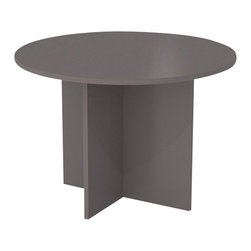 Bestar - Bestar Meeting Solutions 42 Inch Round Meeting Table in Slate - Bestar - Meeting / Training Tables - 6577059 - 1 Inch Commercial Grade top is completed with a 2.5mm PVC shock resistant matching edge banding. Surface is constructed of a scratch stain and burn resistant high performance material. It has an X-base for strength and stability leg levelers for perfect adjustment and can comfortably seat 4 people.