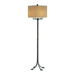 Currey and Company - Poston Floor Lamp - This detailed floor lamp with excellent hand forged curves relies on complicated iron working skills for its creation. The lamp is crowned by a unique four leaf clover shaped shade.