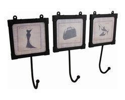Zeckos - Set of 3 Framed Glass Paris Newspaper Print Wall Hooks - This is a fabulous wall hook that is perfect to accent any wall in your home. Use it in the bathroom to hang hair accessories or hand towels, in the closet so you always know where your favorite robe is, or next to the door so you'll never have to search for the keys again A single hook hangs from a black metal and glass frame that shows off what looks like a hand-drawn newspaper ad for a high-fashion pair of lovely high-heeled shoes straight from the runways of Paris. It measures 7 inches high, 3 5/8 inches wide and 2 inches deep. This wall hook art could be the finishing piece to your wall decor