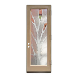 Sans Soucie Art Glass (door frame material Plastpro) - Glass Front Entry Door Sans Soucie Art Glass Branches 2D - Sans Soucie Art Glass Front Door with Sandblast Etched Glass Design. Get the privacy you need without blocking light, thru beautiful works of etched glass art by Sans Soucie!This glass is semi-private. Door material will be unfinished, ready for paint or stain.Bronze Sill, Sweep and Hinges. Available in other finishes, sizes, swing directions and door materials.Dual Pane Tempered Safety Glass.Cleaning is the same as regular clear glass. Use glass cleaner and a soft cloth.