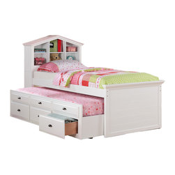 Adarn Inc. - Kids Twin Storage Captain Bed W/Bookcase Headboard/Trundle Drawer, White - A picture perfect designed white / walnut twin bed with a headboard in the shape of a house includes shelf space, a trundle bed and additional lower storage units.