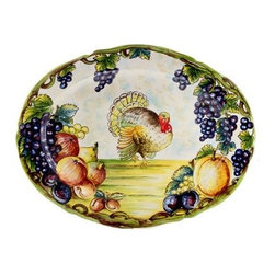 Artistica - Hand Made in Italy - Toscana: Oval Platter Turkey and Grapes Xlarge - Toscana Collection