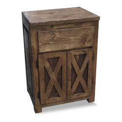 "FoxDen Decor - Small Farmhouse Vanity with X Doors, 30x20x32 - A classic yet rustic small vanity with farmhouse ""X's"" on the doors.The top drawer is made false, leaving plenty of room behind for plumbing. The top is sealed and protected against any water damage. The vanity is finished with a hand rubbed paste wax to help protect the wood."