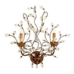 Kathy Kuo Home - Lamour Hollywood Regency Crystal Bud Antique Gold 2 Light Wall Sconce - A bouquet of beautiful, carefree buds stems from this sculpted wrought iron wall sconce. Finished in antique gold, the limbs twist elegantly and hold two  candelabra bulbs, setting a naturally romantic mood.