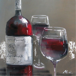 Yosemite Home Decor - Wine and Two Glasses I Artwork - Wine & Two Glasses is a beautifully hand painted, cuisine piece that will bring class and tranquility to any room. Its relaxing colors and background with glistening silver throughout it add certain serenity. The wine bottle has many deep reds that blend together wonderfully, as well as the wine in the two glasses. This decorative art is soothing, and when viewing it, you can truly say that the glasses are half full.
