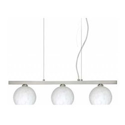 Besa Lighting - Palla 5 Linear Suspension - Palla 5 Linear Suspension features a small orb-shaped glass shade available in Opal Matte, Amber Cloud, Carrera, Garnet, Ceylon, Habanero, or Magma. Finish in Bronze, Satin Nickel, or Polished Nickel. Available in a 3 and 5 light version. Includes 40 watt 120 volt JCD G9 halogen lamps. UL listed. Suitable for indoor damp locations. Includes two 10 foot silver aircraft cables, 10 foot cord, and a low profile rectangular canopy. Dimensions: 3-Light: 22.5 inch length x 4.75 inch width x 3.9 inch height. 5-Light: 38.25 inch length x 4.75 inch width x 3.9 inch height.