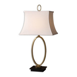 Uttermost - Uttermost Uttermost Table Lamp in Coffee Bronze - Shown in picture: Coffee Bronze Metal With A Black Marble Base. Coffee bronze metal with a black marble base. The rectangle bell shade is an off-white linen fabric.