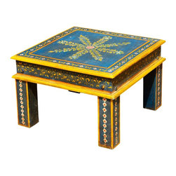 Sierra Living Concepts - Blue Wooden Square End Table - Stunning Blue Hand Painted Square Wooden End Table, hand made with Mango Wood. This table has a simple square design with solid square legs.