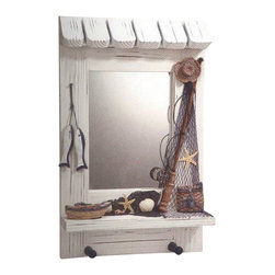 "Nautical Mirror w/ Hanger - The nautical mirror w/ hanger measures 9"" x 14"". This item displays a few sea shells in netting, fish, a fish basket, fishing pole  a rowboat. It also features two hangers at the bottom. It will add a definite nautical touch to whatever room it is placed in and is a must have for those who appreciate high quality nautical decor. It makes a great gift, impressive decoration  will be admired by all those who love the sea."