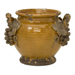 IMAX Worldwide Home - Italia Planter - Weathered ceramic glazed amber Italia planter with grape bunch detail. Containers-Ceramic. 8.5 in. H x 11 in. W x 9 in. D. 100% Ceramic