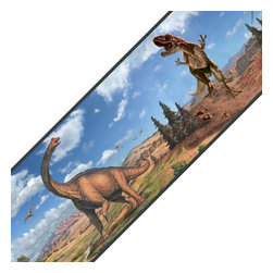 York Wallcoverings - Dinosaurs Landscape T-Rex Set of 4 Self-Stick Wall Borders - FEATURES: