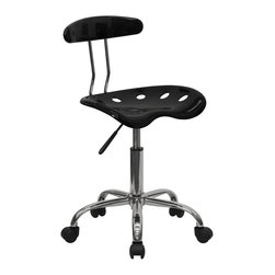 Flash Furniture - Flash Furniture Vibrant Black and Chrome Computer Task Chair - On the market for something different or to add a little drama to your home or office? This is the perfect chair with its uniquely designed seat that is surprisingly comfortable. This chair won't take up a lot of area if space is an issue. chair can be used for a variety of reasons other than just at a desk! [LF-214-BLK-GG]