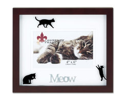 """Lawrence Frames - Walnut Wood 4x6 Meow Picture Frame - Matted Shadow Box Cat Frame - Beautiful dark walnut brown wood picture frame with black cat silhouettes printed on glass and double bevel cut mat with silver metal lettering """"Meow"""".  High quality black wood backing with an easel for horizontal table top display, and hangers for  horizontal wall mounting.    Hand finished 4x6 wood picture frame is made with exceptional workmanship and comes individually boxed."""