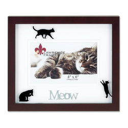 "Lawrence Frames - Walnut Wood 4x6 Meow Picture Frame - Matted Shadow Box Cat Frame - Beautiful dark walnut brown wood picture frame with black cat silhouettes printed on glass and double bevel cut mat with silver metal lettering ""Meow"".  High quality black wood backing with an easel for horizontal table top display, and hangers for  horizontal wall mounting.    Hand finished 4x6 wood picture frame is made with exceptional workmanship and comes individually boxed."