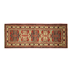 Manhattan Rugs - New Super Kazak Wine Red Veg Dyed Hand Knotted Wool 2x6 Geometric Area Rug H5884 - Kazak (Kazakh, Kasak, Gazakh, Qazax). The most used spelling today is Qazax but rug people use Kazak so I generally do as well.The areas known as Kazakstan, Chechenya and Shirvan respectively are situated north of  Iran and Afghanistan and to the east of the Caspian sea and are all new Soviet republics.   These rugs are woven by settled Armenians as well as nomadic Kurds, Georgians, Azerbaijanis and Lurs.  Many of the people of Turkoman origin fled to Pakistan when the Russians invaded Afghanistan and most of the rugs are woven close to Peshawar on the Afghan-Pakistan border.There are many design influences and consequently a large variety of motifs of various medallions, diamonds, latch-hooked zig-zags and other geometric shapes.  However, it is the wonderful colours used with rich reds, blues, yellows and greens which make them stand out from other rugs.  The ability of the Caucasian weaver to use dramatic colours and patterns is unequalled in the rug weaving world.  Very hard-wearing rugs as well as being very collectable