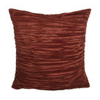 Austin Horn Collection - Austin Horn Collection Pleated Silk European Sham - Soft chenille L'Aquila bedding in rust and gold is a jacquard weave featuring a grandly scaled pattern. Tassel fringe detail and pleated silk accessories in rust complete the ensemble. From Austin Horn Collection. Duvet covers have tassel fringe on th...