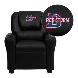 "Flash Furniture - Dixie State College Red Storms Embroidered Black Vinyl Kids Recliner - Get young kids in the college spirit with this embroidered college recliner. Kids will now be able to enjoy the comfort that adults experience with a comfortable recliner that was made just for them! This chair features a strong wood frame with soft foam and then enveloped in durable vinyl upholstery for your active child. This petite sized recliner is highlighted with a cup holder in the arm to rest their drink during their favorite show or while reading a book.; Dixie State College Embroidered Kids Recliner; Embroidered Applique on Oversized Headrest; Overstuffed Padding for Comfort; Durable Black Vinyl Upholstery; Easy to Clean Upholstery with Damp Cloth; Cup Holder in armrest; Solid Hardwood Frame; Raised Black Plastic Feet; Intended use for Children Ages 3-9; 90 lb. Weight Limit; Meets or Exceeds CA117 Fire Resistance Standards; Safety Feature: Will not recline unless child is in seated position and pulls ottoman 1"" out and then reclines; Assembly Required: Yes; Country of Origin: China; Warranty: 2 Years; Dimensions: 27""H x 24""W x 21.5 - 36.5""D"