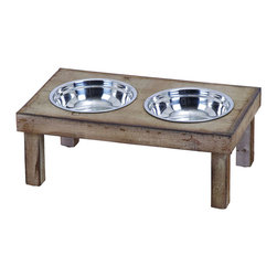 Benzara - Classic Style Handmade Pet Feeder Food Bowl - Dog and other pet food bowls should be raised off the floor for your animal's health and comfort while eating. This pet feeder comes with two steel food bowls designed for a perfect sized meal. Extra stability ensures the little pooch doesn't slide their bowl while they chow. Perfect as patio furniture, or to be used in the laundry room.
