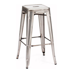 Zuo Era - Marius Bar Chair Gunmetal - Bring home our Marius Bar Chair with contemporary design has a footrest for convenient seating. A modern twist on a classic bistro chair, this piece promises to redefine your room. It's the perfect bar chair to compliment any kitchen or room.
