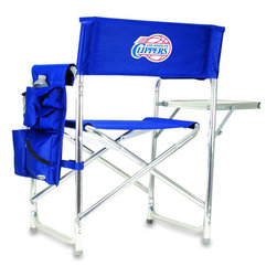 """Picnic Time - Los Angeles Clippers Sports Chair in Navy - The Sports Chair by Picnic Time is the ultimate spectator chair! It's a lightweight, portable folding chair with a sturdy aluminum frame that has an adjustable shoulder strap for easy carrying. If you prefer not to use the shoulder strap, the chair also has two sturdy webbing handles that come into view when the chair is folded. The extra-wide seat (19.5"""") is made of durable 600D polyester with padding for extra comfort. The armrests are also padded for optimal comfort. On the side of the chair is a 600D polyester accessories panel that includes a variety of pockets to hold such items as your cell phone, sunglasses, magazines, or a scorekeeper's pad. It also includes an insulated bottled beverage pouch and a zippered security pocket to keep valuables out of plain view. A convenient side table folds out to hold food or drinks (up to 10 lbs.). Maximum weight capacity for the chair is 300 lbs. The Sports Chair makes a perfect gift for those who enjoy spectator sports, RVing, and camping.; Decoration: Digital Print; Includes: 1 detachable polyester armrest caddy with a variety of storage pockets designed to hold the accessories you use most"""