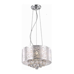 """PWG Lighting / Lighting By Pecaso - Heloise 3-Light 14"""" Crystal Ceiling Pendant 1767D14C-RC - Alive with prismatic color, this multi-layered collection, Heloise, is as versatile as it is beautiful. The crystal quietly graces the shade allowing this design to be compatible with a wide range of decorating styles."""