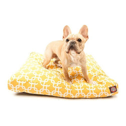 MAJESTIC PET PRODUCTS - Links Rectangle Pet Bed - This stylish rectangular pet bed looks great in any room of your house and is filled with ultra-plush fiberfill for luxurious napping. The removable zippered slipcover is made from outdoor-treated, UV-protected polyester for durability, and the base is made from heavy-duty waterproof 300/600 denier fabric that can go inside or out. Spot clean the slipcover and hang dry. Comes in a variety of colors and patterns, so you can pick the one that complements your decor.