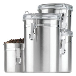 Anchor Hocking - Stainless Steel Canister 4Piece Set - Our 4-Piece Stainless steel Canister set keeps your sugars, seasonings, coffees organized and secure in the stylish way. Perfect for your pantry but cute enough for your countertop.