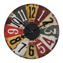 "UTTERMOST - Vintage License Plates 29"" Wall Clock - This colorful clock face consists of vintage pictures of old license plates with rustic bronze details"