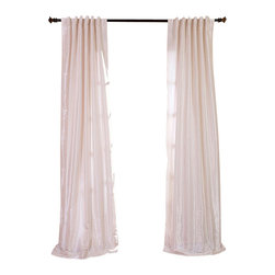 """Exclusive Fabrics & Furnishings, LLC - Off White Textured Vintage Faux Dupioni Silk Curtain - 100% Polyester. 3"""" Pole Pocket with Back Tabs. Lined. Interlined. Imported. Weighted Hem. Dry Clean Only."""