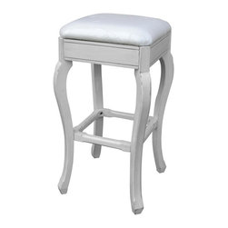EuroLux Home - New Bar Stool Gray Painted Hardwood Backless - Product Details
