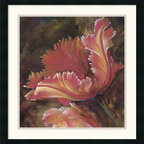 Amanti Art - Tulip One Framed Print by Dysart - Infuse your home with the elegance of floral art with a modern flair. Juxtaposing a single tulip with a velvety brown backdrop, artist Dysart lends his subject an air of sophistication.