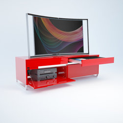 Red Lacquer Media Cabinet – WU301 - - Hand made in Germany